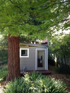 The Irwin and Mark Modern-Shed nestles nicely in their backyard.