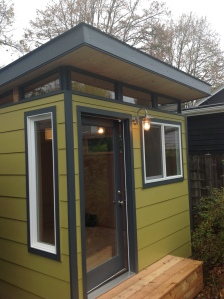 This 10' by 12' Modern-Shed offers lots of light and warmth in Portland winters.