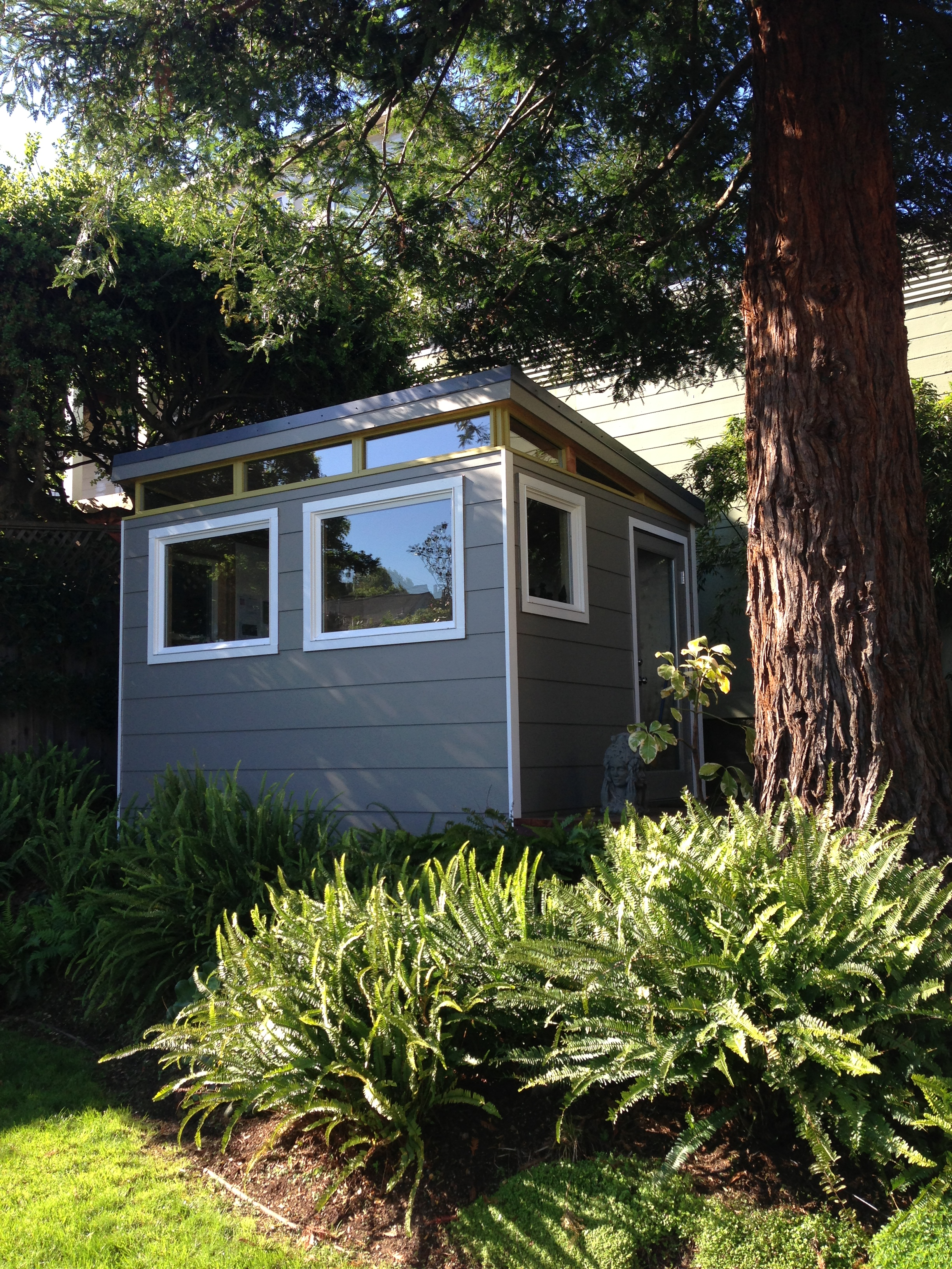 This Modern Shed Home Office Sits Under A Redwood Tree And Provides A Quiet  Spot