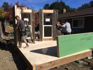 Day 1 of Darius Mojahed's Modern-Shed home office build saw the walls and roof go up.