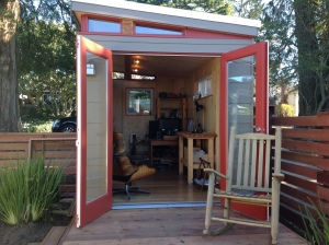 Mike Jones uses his Modern-Shed home office as a place to write and work peacefully.