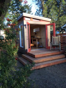 This 8' by 15' foot Modern-Shed home office sit in the front yeard of the Jones-Churi home.