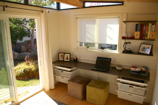 Anja chose white sheetrock and bamboo flooring to give her Modern-Shed a light and warm feel.
