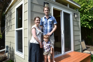 Erin Evans, Kevin Goodier and their son Idris, 2, love their new 10' by 12' Modern-Shed home office.