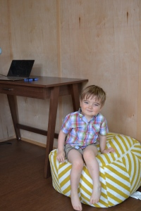 Idris, 2, enjoys visiting his parents' Modern-Shed.