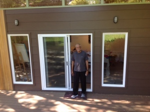 Slim stands outside of his Modern-Shed art studio in San Rafael.