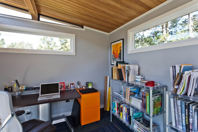 A Modern-Shed home office interior, located in a customer's backyard.