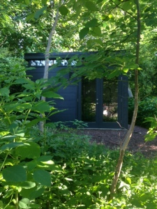 David's 14' by 14' Modern-Shed garden studio in rural Pennsylvania.