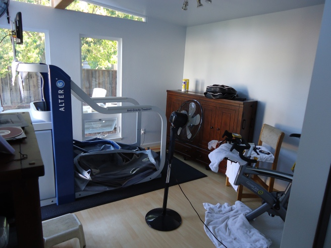 Amol's fitness equipment dominates the room, but notice the fan and television!