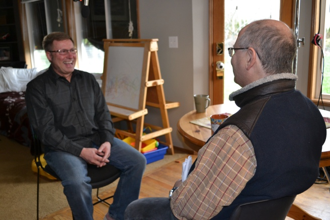 Modern-Shed general manager Tim Vack, at left, is being interviewed by msnbc producer Frank Silverstein.