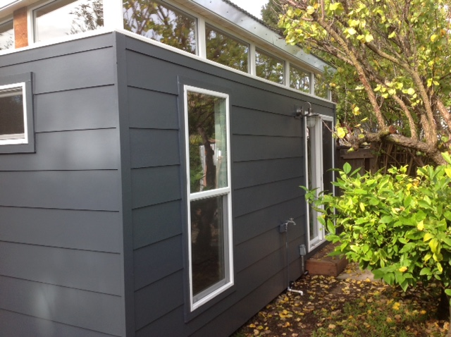 Modern-Shed was able to install this 12' by 18' structure less than six weeks after her initial call, with minimum disruption for the neighborhood.
