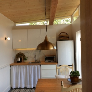 Rebecca selected a smaller refrigerator and a deep sink to create more room in her Modern-Shed guest house's kitchen.