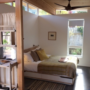Guests are surprised at how roomy the Modern-Shed guest house really is.