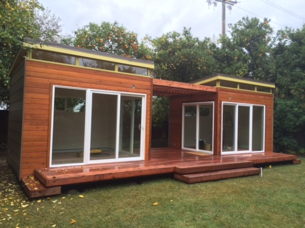 This Modern-Shed twin studio is made with beautiful redwood siding.