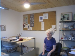 Elizabeth enjoying her new studio.