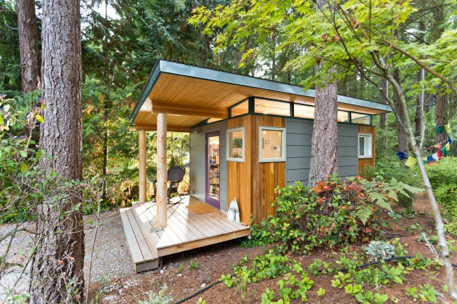 Lin's 12' by 16' Modern-Shed nestled in the front yard of her Vashon Island home.