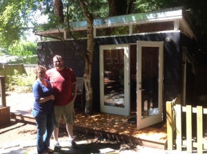 Cory, pregnant here in 2014 with the couple's second child, and Jeremy decided to build a second shed for Jeremy to use for computer work and as a guys' space.