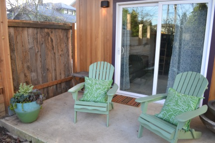 A small patio offers guests a chance to check out Marc and Jeanine's gardens